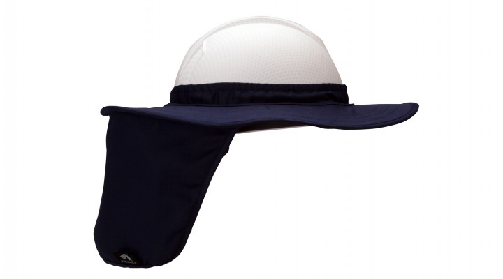 Blue Hard Hat Brim with Neck Shade