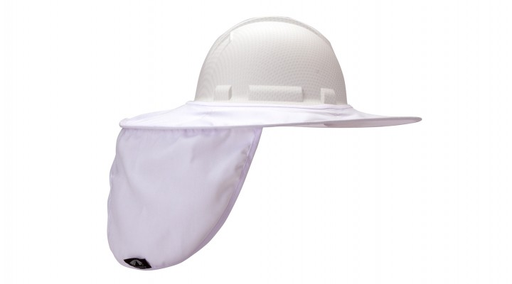 White Collapsible Hard Hat Brim with Neck Shade