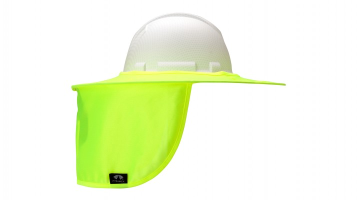 20a8a7cf0 Hi-vis Yellow Collapsible Hard Hat Brim with Neck Shade - Pyramex Safety