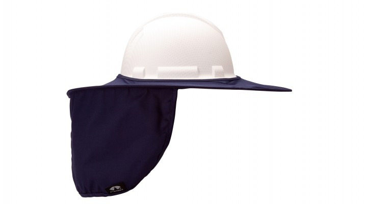 Blue Collapsible Hard Hat Brim with Neck Shade