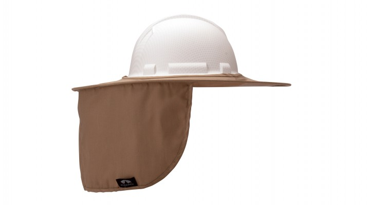 Khaki Collapsible Hard Hat Brim with Neck Shade