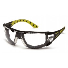 Clear H2MAX Anti-Fog Lens with Black and Green Temples with Foam Padding
