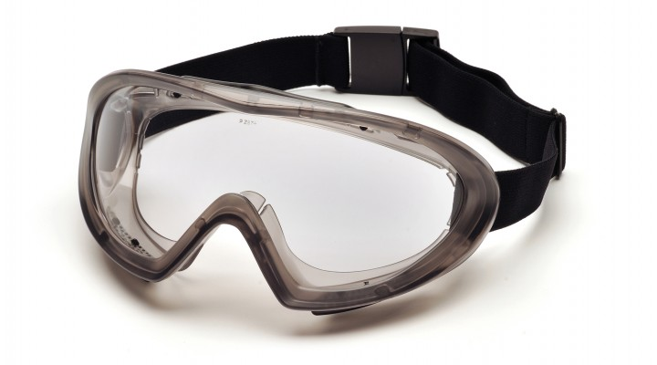 Gray Goggle with Quick Release Strap with Clear Dual Pane H2X Anti-Fog