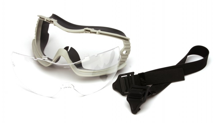 Clear Anti-Fog Lens with Gray Body and Adjustable Neoprene Strap