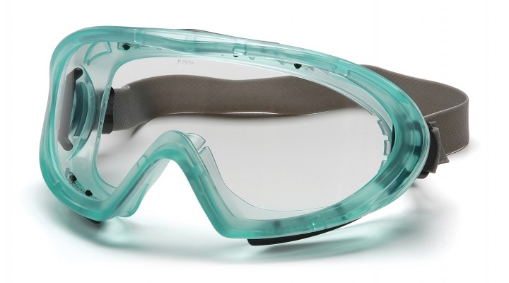 Chemical Green Direct/Indirect Goggle with Neoprene Strap with Clear H2X Anti-Fog Lens