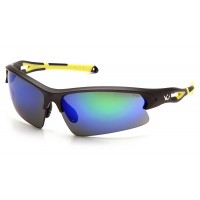 Ice Blue Mirror Lens with Gun Metal/Hi-vis Yellow Frame
