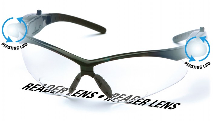 Clear +2.5 Anti-Fog Reader Lens with Black Frame and LED Temples