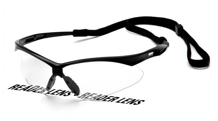 Clear +1.5 Reader Lens with Black Frame and Cord