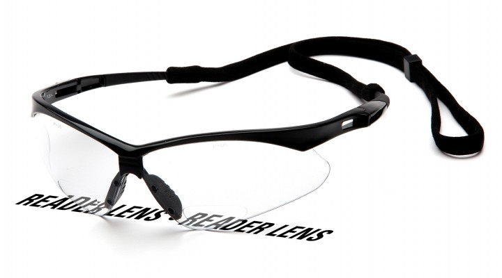 Clear +2.0 Reader Lens with Black Frame and Cord