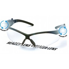 Clear Anti-Fog Reader Lens with Black Frame and Pivoting LED Temples