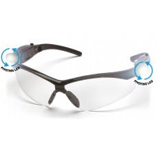 Clear Anti-Fog Lens with Black Frame and Pivoting LED Temples