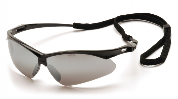 Silver Mirror Lens with Black Frame and Cord