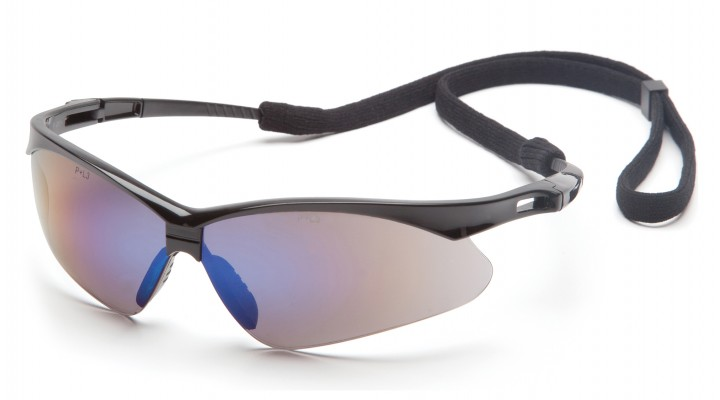 Blue Mirror Lens with Black Frame and Cord