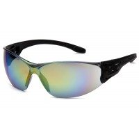 Multi-Color Mirror Lens with Black Temples