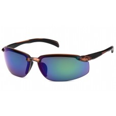 Multi-Color Mirror Lens with Brown Frame