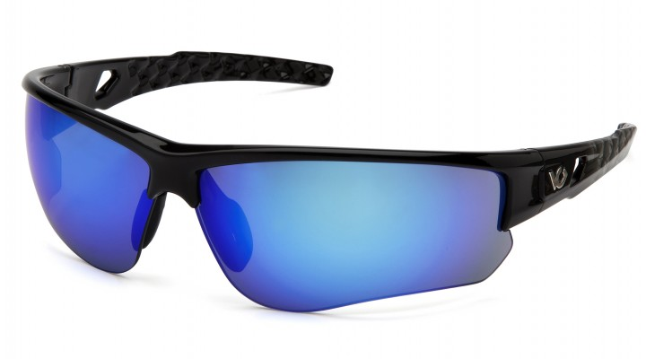Ice Blue Mirror Anti-Fog Lens with Black and Silver Frame