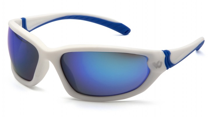 Ice Blue Mirror Anti-Fog Lens with White/Blue Frame