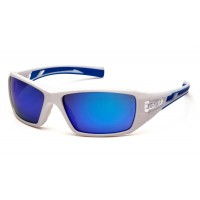 Ice Blue Mirror Lens with White and Blue Frame