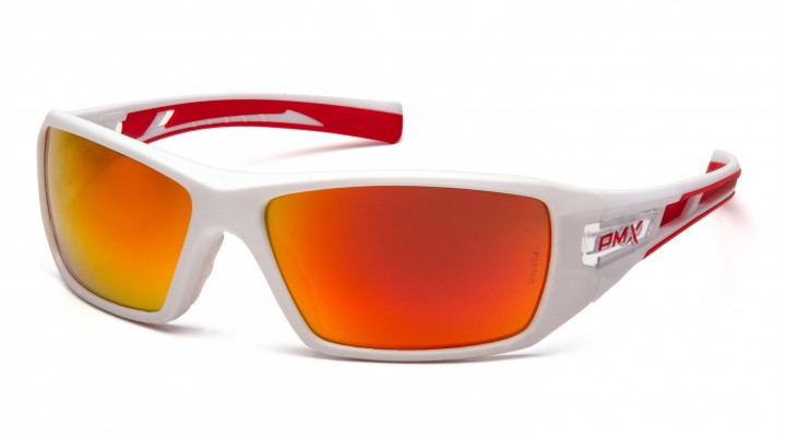Sky Red Mirror Lens with White and Red Frame