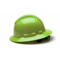 Hi-vis Lime Full Brim Style 4-Point Vented Ratchet