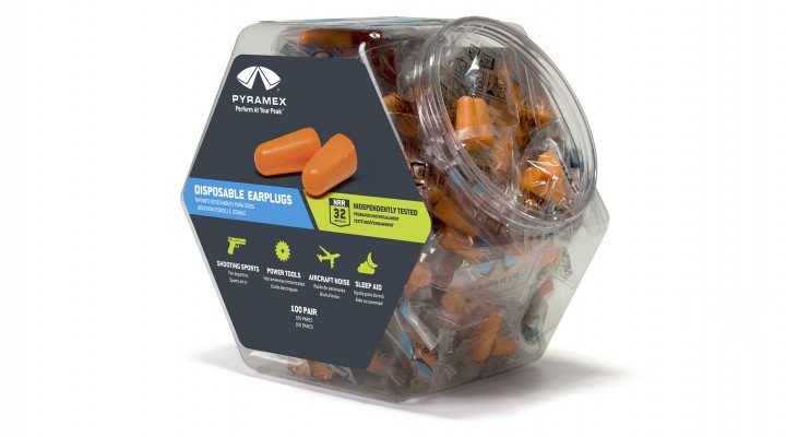 100 Disposable Earplugs in a Retail Bin