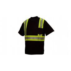 Ansi Type 0 - Class 1 Not FR Black Reflective T-Shirt with Broken Heat Sealed Tape