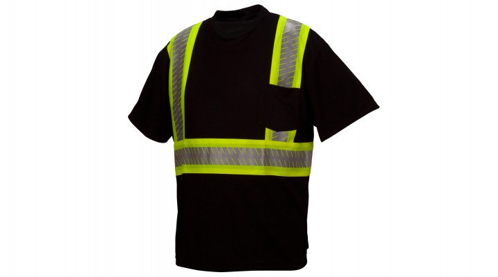 Ansi Type 0 - Class 1 Not FR Hi-Vis Black Reflective T-Shirt with Broken Heat Sealed Tape