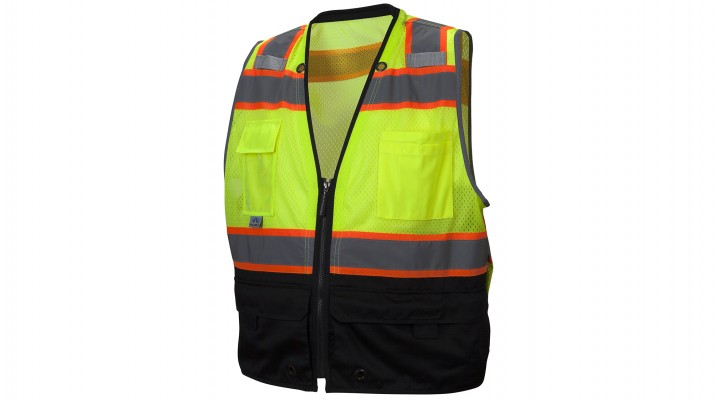Type R - Class 2 Hi-Vis Lime Safety Vest with Black Bottom