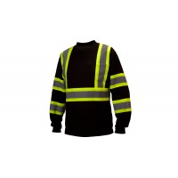 Ansi Type 0 - Class 1 Not FR Hi-Vis Black Reflective Long Sleeve Moisture Wicking T-Shirts