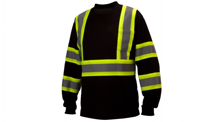 Hi-Vis Black Long Sleeve Moisture Wicking T-Shirts