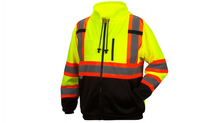 Hi-Vis Lime Premium Zipper Sweatshirt