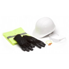 SL Series Hard Hat, Safety Vest, Earplugs, Clear Safety Glasses, and Gloves
