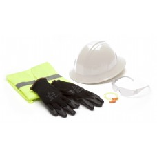 SL Series Hard Hat, Large Safety Vest, Earplugs, Gray Safety Glasses, and Gloves