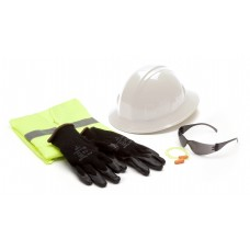 SL Series Hard Hat, Extra-Large Safety Vest, Earplugs, Gray Safety Glasses, and Gloves