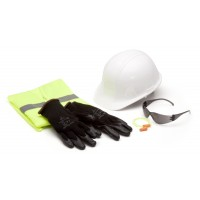SL Series Hard Hat, Safety Vest, Earplugs, Gray Safety Glasses, and Gloves