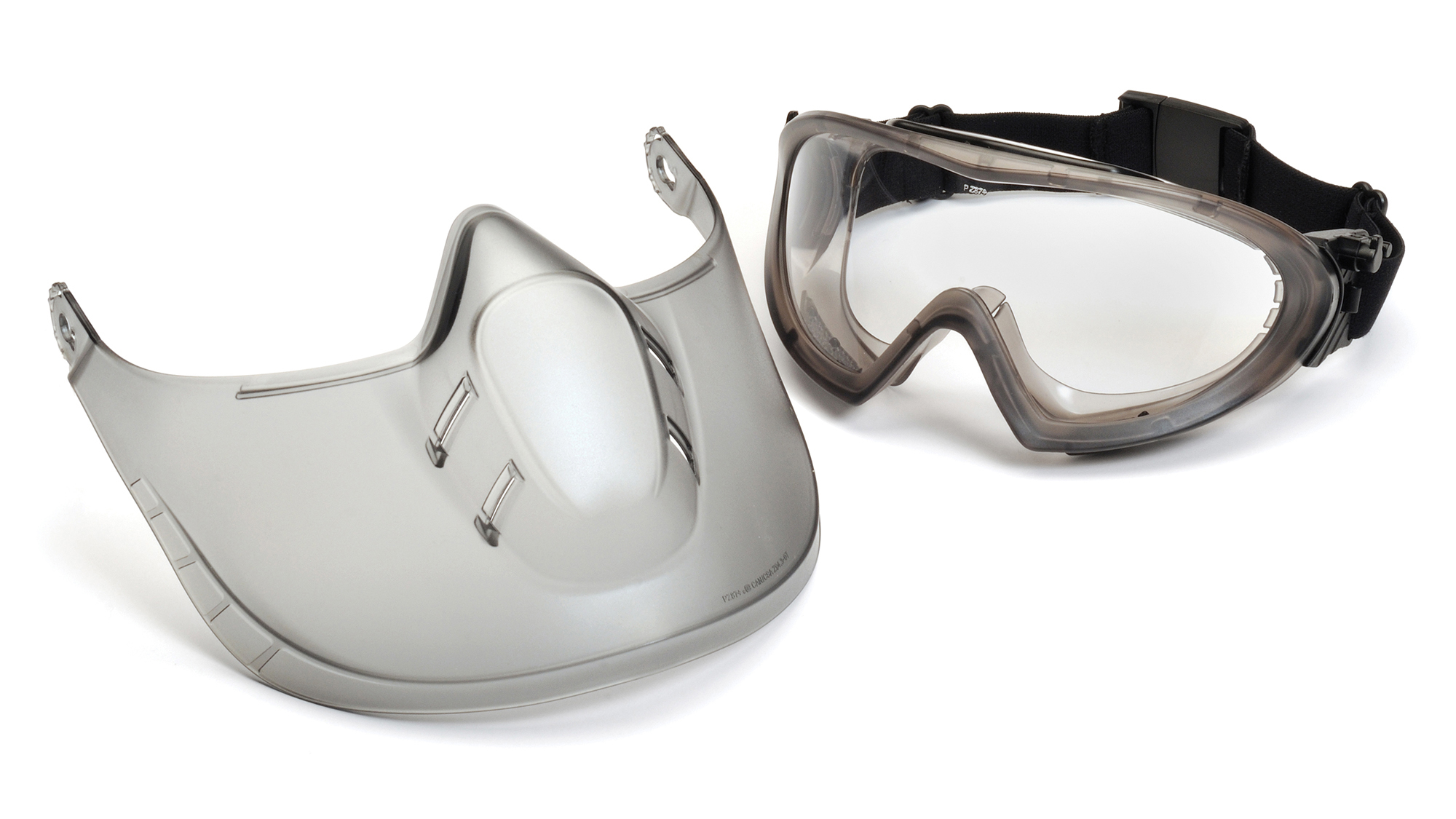 Pyramex Safety - Capstone - Direct/Indirect-Gray Frame/Clear Anti-Fog Lens woth faceshield attachment - Anti-Fog Lens